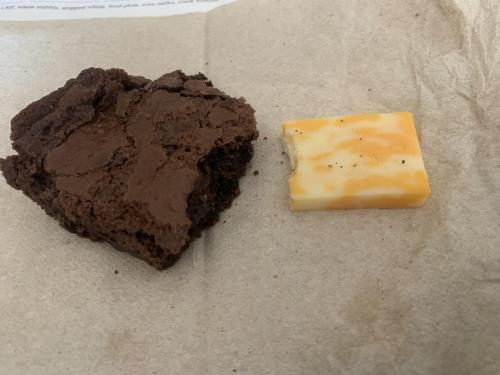 Brownie and cheese